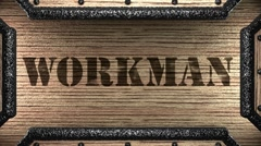 Stock Video Footage of workman on wooden stamp