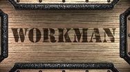 Workman on wooden stamp Stock Footage