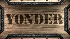 yonder on wooden stamp - stock footage