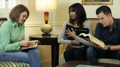Friends having bible study Stock Footage