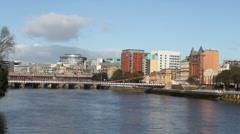 Bridges over River Clyde Glasgow Scotland Stock Footage