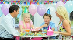 Young Caucasian Family Birthday Celebrations - stock footage