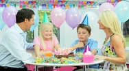 Young Caucasian Family Birthday Celebrations Stock Footage