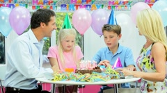 Young Caucasian Birthday Boy at Family Party Stock Footage