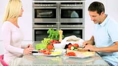 Caucasian Couple Preparing Healthy Lunch Stock Footage