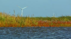 Wind engines behind swamp, Borkum, North Sea, Germany Stock Footage