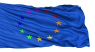 Realistic 3D detailed slow motion Europe gay flag in the wind - seamless looping Stock Footage