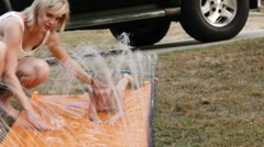 Slip and slide Stock Footage