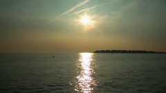 Fehmarn sunset boat leaving to baltic sea Stock Footage