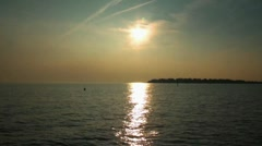 Fehmarn coast sunset boat coming home baltic sea Stock Footage