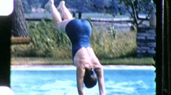 Divers Slow Motion on Springboard Circa 1960 (Vintage Film 8mm Home Movie) 874 Stock Footage