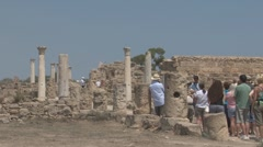Tourists at Salamis, ancient Greek city-state, Cyprus Stock Footage