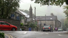 Raining in Castleton in The Peak District, UK - stock footage