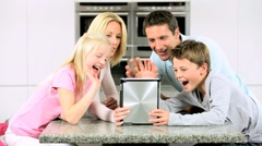 Caucasian Family Using Online Video Chat with Relatives - stock footage