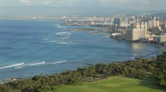Waikiki, Hawaii from above (pan) - stock footage