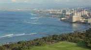 Waikiki, Hawaii from above (pan) Stock Footage