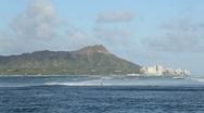 Diamond Head and surfers, Waikiki, Oahu, Hawaii Stock Footage