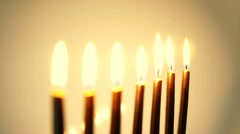 HD - Moving the focus on candles. Gold backgrounds - stock footage