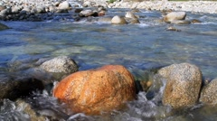Rapid stream in mountain river. Stock Footage