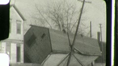 Collapsed House After Flood Circa 1936 (Vintage Film Home Movie) 905 Stock Footage
