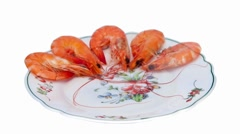 Shrimp on a platter. Stock Footage