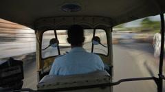 Tlapse / Auto-Rickshaw journey, Jaipur, Rajasthan - stock footage