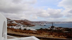 Mykonos cruiseboats in fastmotion Stock Footage