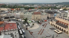 Aerial View of Krakow, Market Square, Town Hall Tower, Cloth Hall, Drapers' Hall Stock Footage