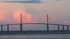Sunshine Skyway Bridge Center Span Stock Footage