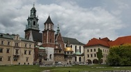 Stock Video Footage of Gothic Wawel Royal Castle, Wawel Cathedral, Wawel Hill in Krakow, Poland