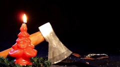 10614 kill santa claus nicolas axe realtime Stock Footage