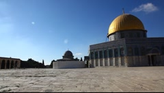 Temple Mount Dome of the Rock pan Stock Footage