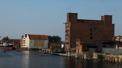 Beautiful Gdansk Cityscape, Krantor, Motlawa River, Old Ship, Medieval Town Stock Footage