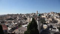 Skyline of old Jerusalem pan Stock Footage