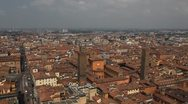 Stock Video Footage of HD Aerial View of Bologna, Italy, Bologna Cathedral, Cattedrale di San Pietro