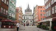 Stock Video Footage of Beautiful Gdansk Market Street, Square, Old City, Medieval Town, Poland