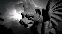 Scary Gargoyle Revealed in Frightening Lightning Storm (Halloween) Stock Footage