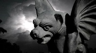 Stock Video Footage of Scary Gargoyle Revealed in Frightening Lightning Storm (Halloween)