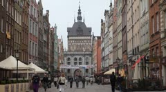 Beautiful Gdansk Market Street, Square, Old City, Medieval Town, Poland Stock Footage