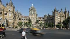 Chhatrapati Shivaji Terminus (Victoria Terminus) Mumbai Stock Footage