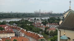 Warsaw Cityscape, Stadium, Poland, Financial District City Center Traffic Europe Stock Footage