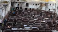Stock Video Footage of Fes, Morocco tanneries