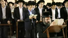 Yeshiva students during Slihot at the Western Wall, Jerusalem Stock Footage