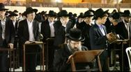 Stock Video Footage of Yeshiva students during Slihot at the Western Wall, Jerusalem
