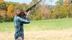 Young man shooting skeet. Stock Footage