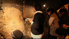 Females pray Slihot at the Kotel Tunnels, Jerusalem Stock Footage