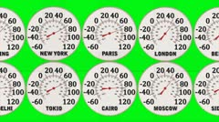 Global Warming Capital City Thermometers Green Stock Footage