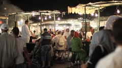 Marrakesh, Morocco night food market Stock Footage