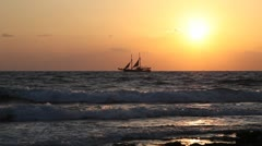 Ship at sunset - stock footage