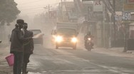 Volcanic Ash Chokes City During Eruption Crisis Stock Footage